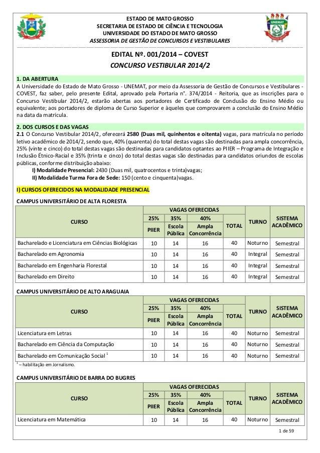 1 de 59 ESTADO DE MATO GROSSO SECRETARIA DE ESTADO DE CIÊNCIA E TECNOLOGIA UNIVERSIDADE DO ESTADO DE MATO GROSSO ASSESSORI...