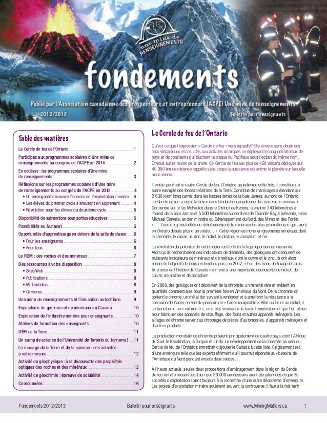 Fondements 2012/2013 Bulletin pour enseignants  www.MiningMatters.ca 1Le Cercle de feu de l'OntarioQu'est-ce que l'ex...