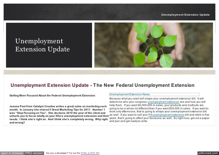 Unemployment Extension Update         Unemployment         Extension Update      Unemployment Extension Update - The New F...