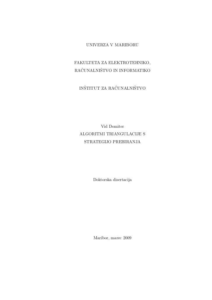 UNIVERZA V MARIBORUFAKULTETA ZA ELEKTROTEHNIKO,RAČUNALNIŠTVO IN INFORMATIKO INŠTITUT ZA RAČUNALNIŠTVO          Vid Domiter...