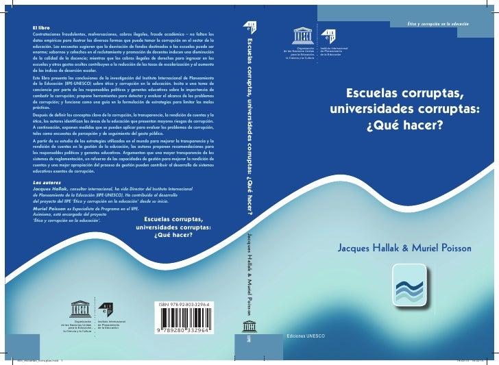 Unesco. escuelas corrupta, universidades corruptas, qué hacer