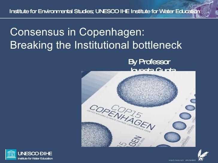 Institute for Environmental Studies; UNESCO IHE Institute for Water Education Consensus in Copenhagen:  Breaking the Insti...