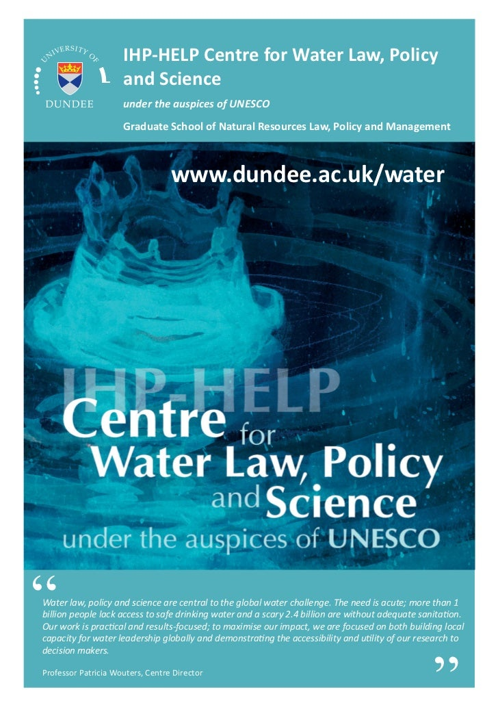 IHP-HELP Centre for Water Law, Policy                     and Science                     under the auspices of UNESCO    ...
