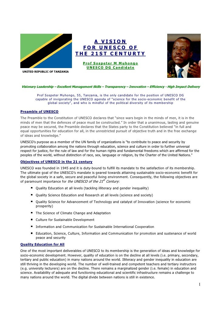 Unesco Dg Candidate  Prof Sm Muhongo Tanzania  A Vision For Unesco 27 July 2009 Document Ii