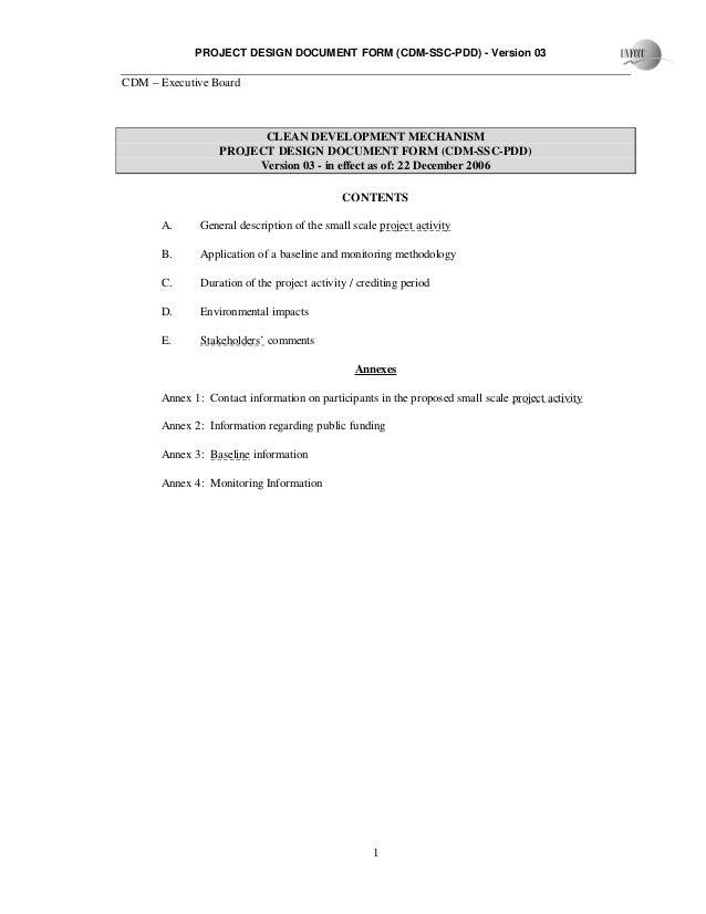 PROJECT DESIGN DOCUMENT FORM (CDM-SSC-PDD) - Version 03CDM – Executive Board1CLEAN DEVELOPMENT MECHANISMPROJECT DESIGN DOC...