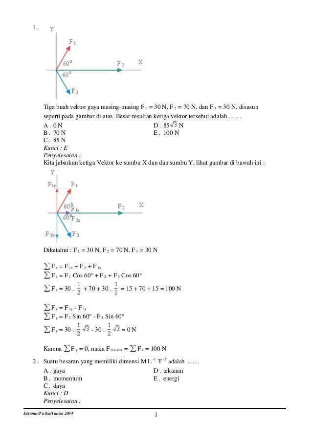 1.          Tiga buah vektor gaya masing-masing F 1 = 30 N, F 2 = 70 N, dan F 3 = 30 N, disusun          seperti pada gamb...