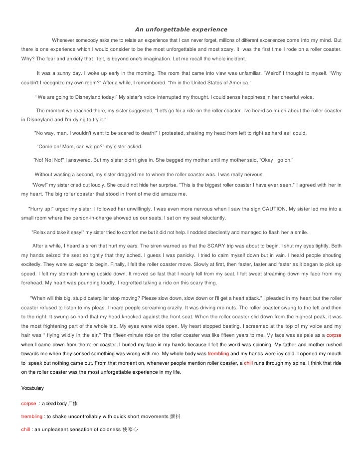 descriptive essay scary experience Sample narrative essay learning something new can be a scary experience one of the hardest things i've ever had to do was learn how to swim i was always afraid of.