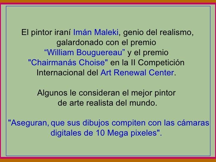 """El pintor iraní  Imán Maleki , genio del realismo, galardonado con el premio  """"William Bouguereau""""  y el premio  """"Cha..."""