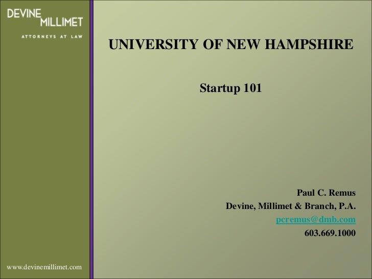 UNIVERSITY OF NEW HAMPSHIRE                                   Startup 101                                                 ...