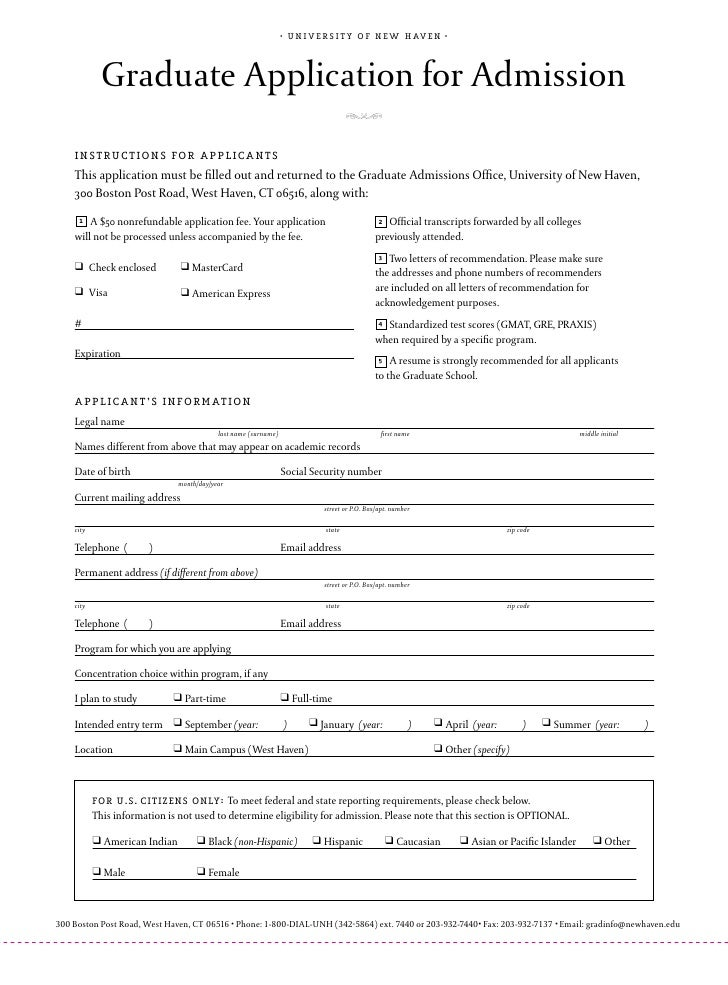 •   u n i v e r s i t y o f n e w h av e n •                  Graduate Application for Admission     instructions for appl...