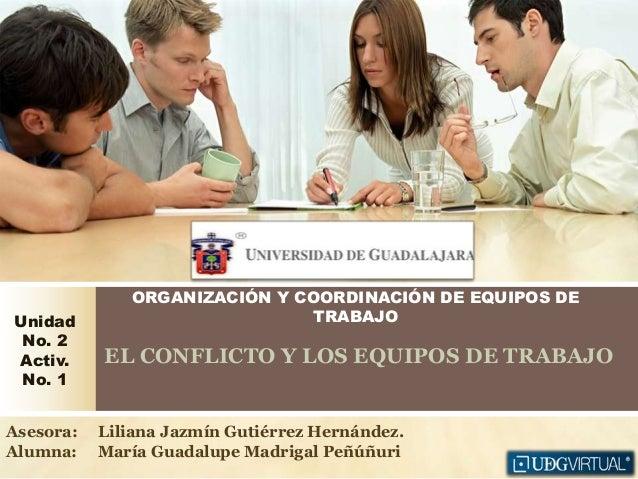 ORGANIZACIÓN Y COORDINACIÓN DE EQUIPOS DE TRABAJO EL CONFLICTO Y LOS EQUIPOS DE TRABAJO Unidad No. 2 Activ. No. 1 Asesora:...