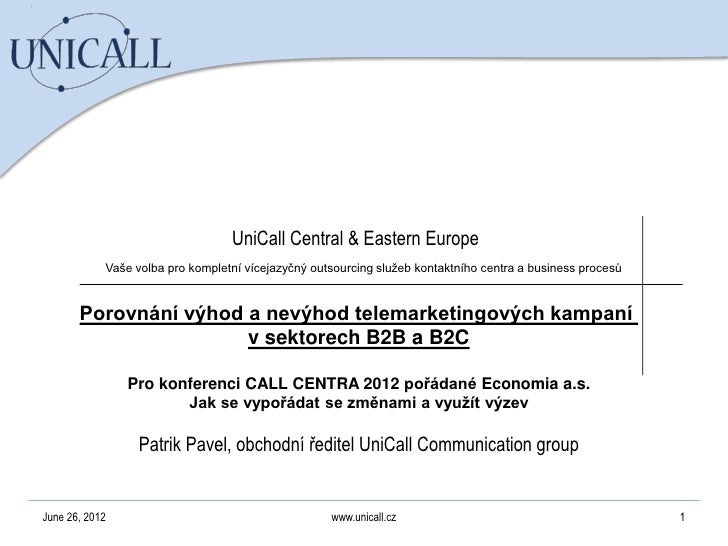 UniCall Communication Group - B2B telemarketing for Call Centre conference