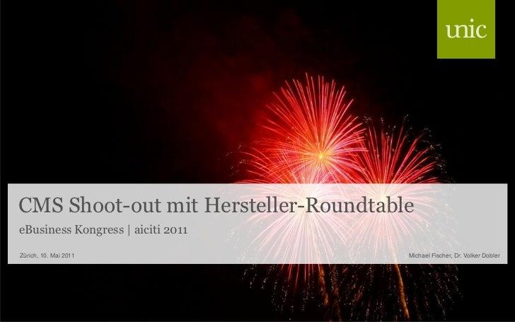 CMS Shoot-out mit Hersteller-RoundtableeBusiness Kongress | aiciti 2011Zürich, 10. Mai 2011                  Michael Fisch...