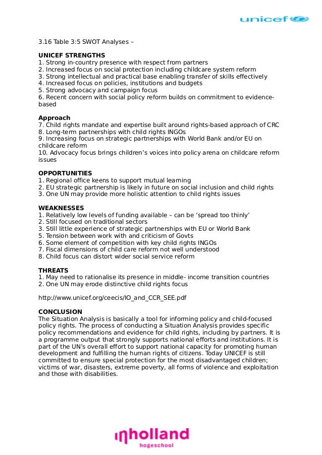 swot analysis of unicef Pest analysis example pdf swot and pestel production - unicef swot and pestel are analytical tools that help identify the key external and  6 persons with good.