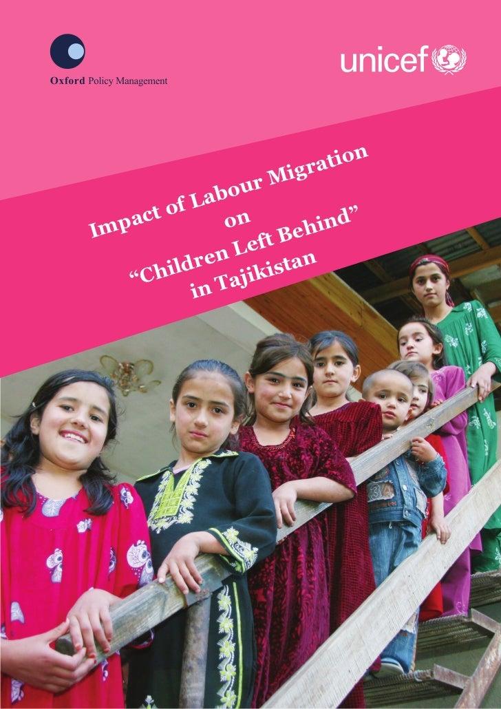 """Impact of Migration on """"Children left behind"""" in Tajikistan"""
