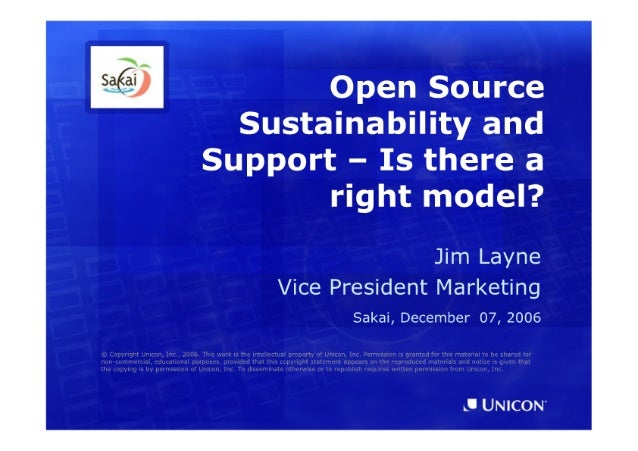 Unicon on Open Source Sustainability (Sakai Atlanta, December 2006)