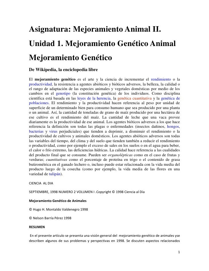 Asignatura: Mejoramiento Animal II.<br />Unidad 1. Mejoramiento Genético Animal<br />Mejoramiento Genético<br />De Wikiped...