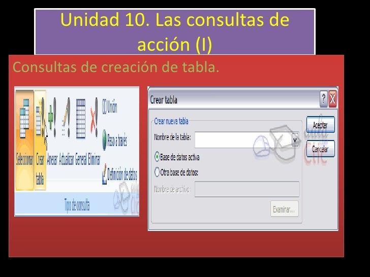 Unidad 10. Las consultas de               acción (I)Consultas de creación de tabla.