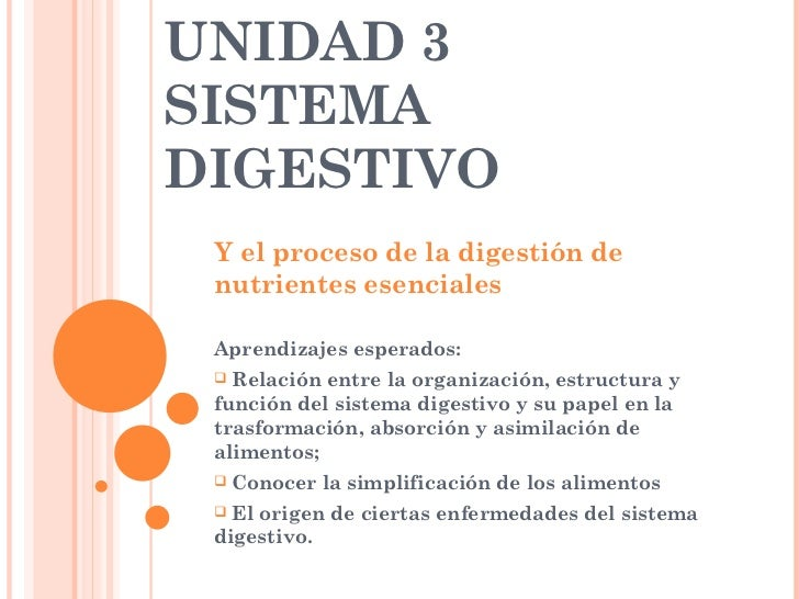 UNIDAD 3  SISTEMA DIGESTIVO <ul><li>Y el proceso de la digestión de nutrientes esenciales </li></ul><ul><li>Aprendizajes e...