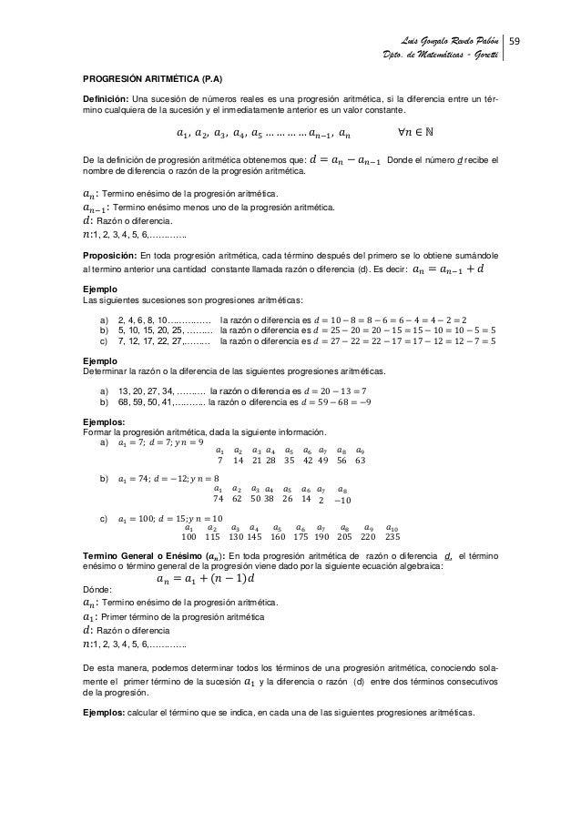 Unidad 6. progresion aritmetica-GONZALO REVELO PABON