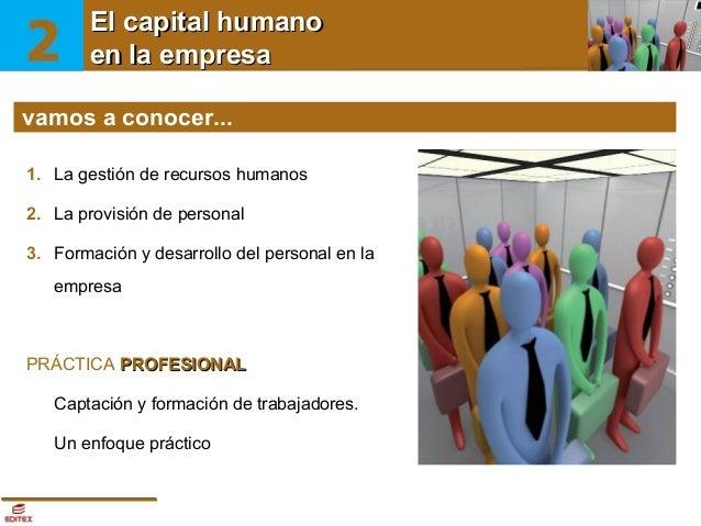 El capitalEl capitalla empresa humano en humano  en la empresa vamos a conocer... 1. La gestión de recursos humanos 2. La ...