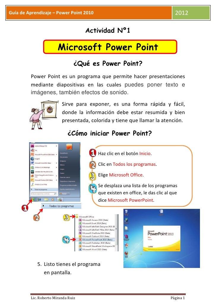 Guía de Aprendizaje – Power Point 2010                                          2012                                     A...