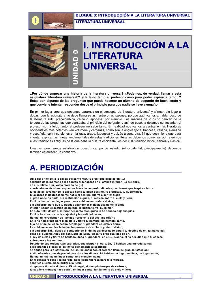 0                                    BLOQUE 0: INTRODUCCIÓN A LA LITERATURA UNIVERSAL                                    L...