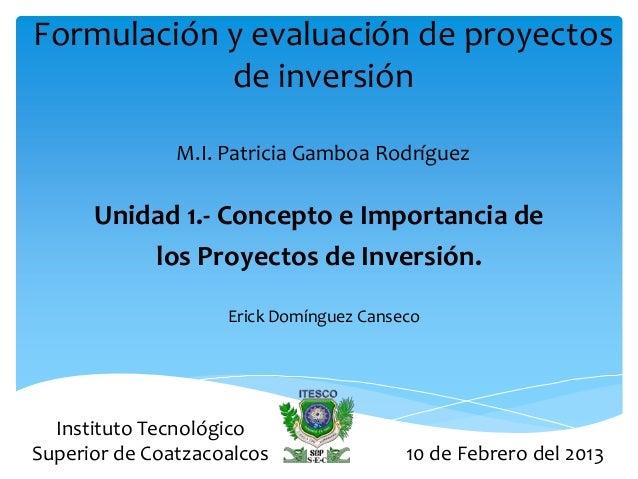 Formulación y evaluación de proyectos            de inversión               M.I. Patricia Gamboa Rodríguez      Unidad 1.-...