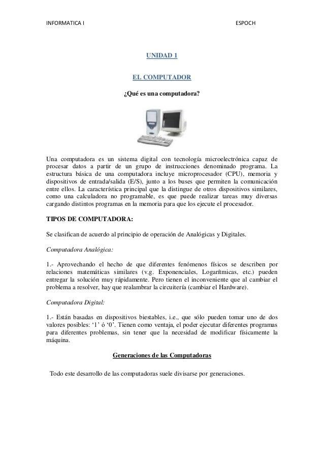 Unidad 1 EL COMPUTADOR INFORMATICA1 ESPOCH ELIZABETH SEGOVIA