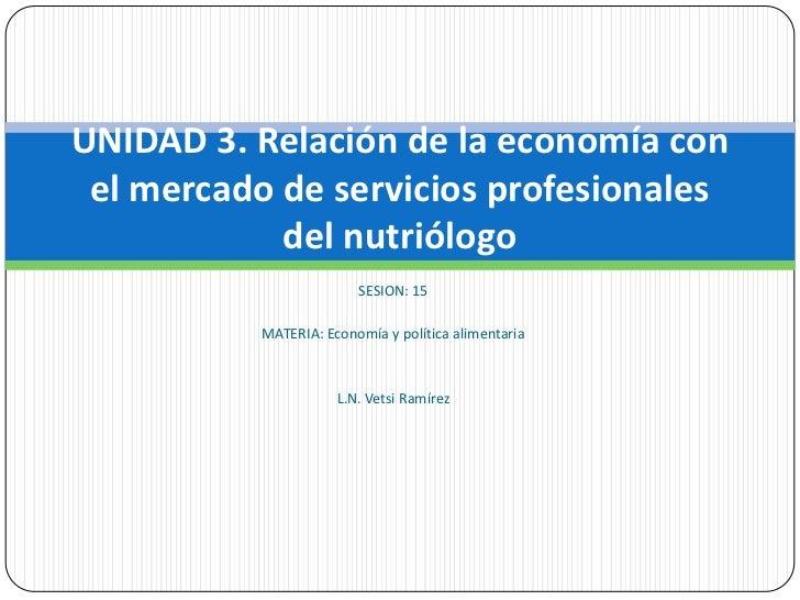SESION: 15<br />MATERIA: Economía y política alimentaria<br />L.N. Vetsi Ramírez<br />UNIDAD 3. Relación de la economía co...