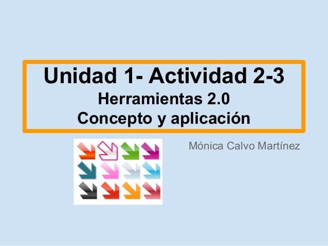 Unidad 1- Actividad 2-3 Herramientas 2.0 Concepto y aplicación Mónica Calvo Martínez