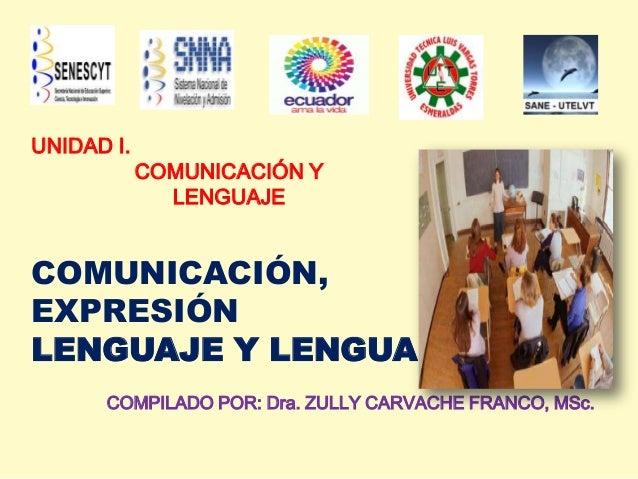 UNIDAD I.COMUNICACIÓN YLENGUAJECOMUNICACIÓN,EXPRESIÓNLENGUAJE Y LENGUACOMPILADO POR: Dra. ZULLY CARVACHE FRANCO, MSc.