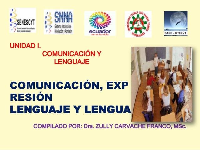 UNIDAD I.COMUNICACIÓN YLENGUAJECOMUNICACIÓN, EXPRESIÓNLENGUAJE Y LENGUACOMPILADO POR: Dra. ZULLY CARVACHE FRANCO, MSc.