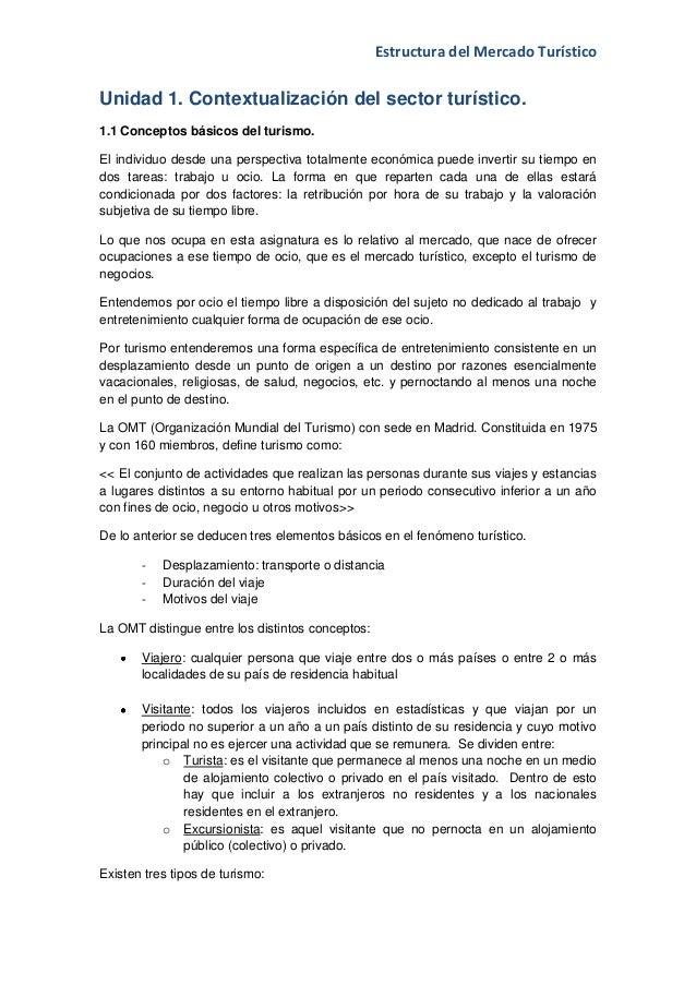 Estructura del Mercado TurísticoUnidad 1. Contextualización del sector turístico.1.1 Conceptos básicos del turismo.El indi...