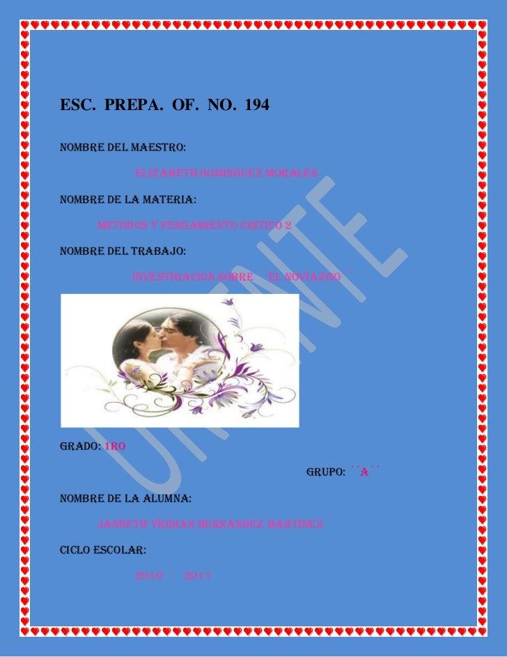 ESC.  PREPA.  OF.  NO.  194<br />NOMBRE DEL MAESTRO:<br />                          ELIZABETH DOMINGUEZ MORALES<br />NOMBR...