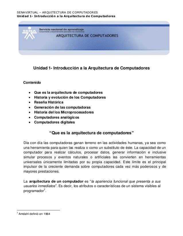 Unidad 1  introducción a la arquitectura de computadores