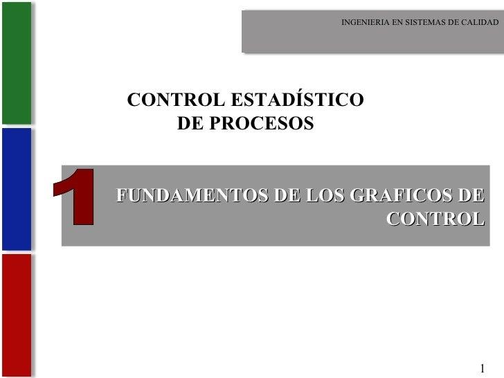 FUNDAMENTOS DE LOS GRAFICOS DE CONTROL INGENIERIA EN SISTEMAS DE CALIDAD 1 CONTROL ESTADÍSTICO DE PROCESOS