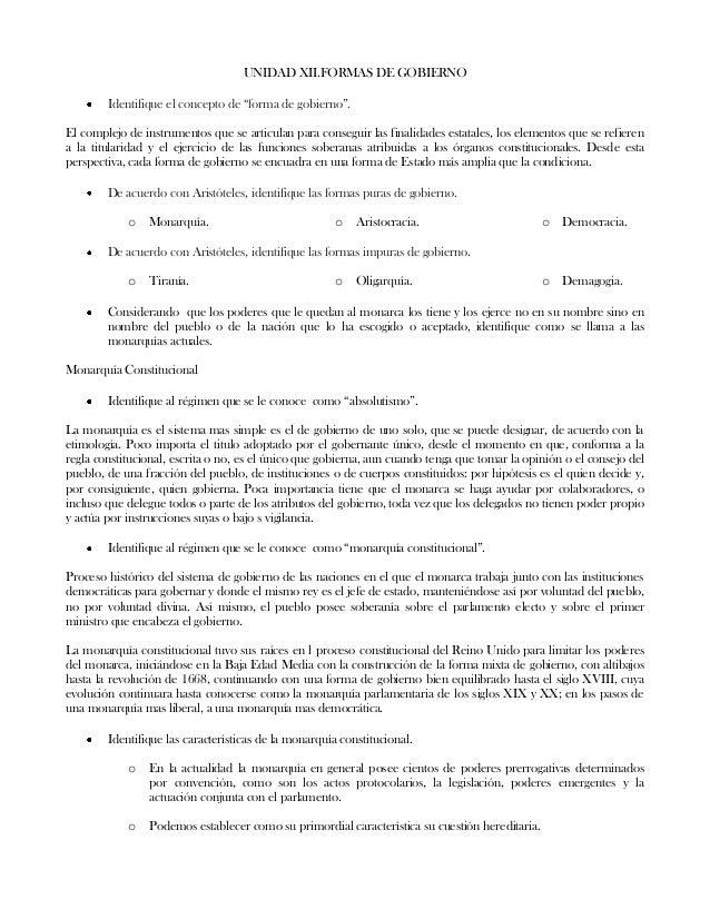"""UNIDAD XII.FORMAS DE GOBIERNOIdentifique el concepto de """"forma de gobierno"""".El complejo de instrumentos que se articulan p..."""