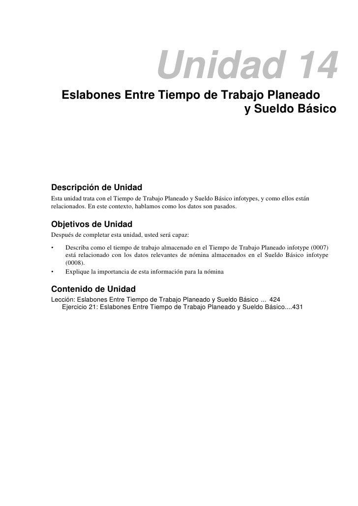Unidad 14    Eslabones Entre Tiempo de Trabajo Planeado                                  y Sueldo BásicoDescripción de Uni...