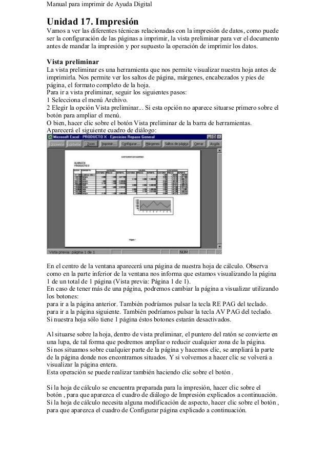Manual para imprimir de Ayuda Digital Unidad 17. Impresión Vamos a ver las diferentes técnicas relacionadas con la impresi...