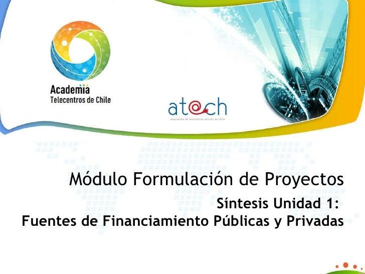 Síntesis Unidad 1: Fuentes de Financiamiento