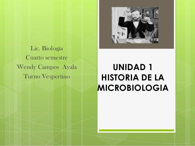 Lic. Biología  Cuarto semestreWendy Campos Ayala       UNIDAD 1 Turno Vespertino     HISTORIA DE LA                     MI...