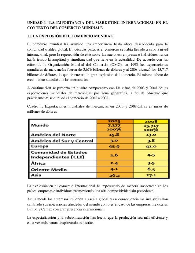 """UNIDAD 1 """"LA IMPORTANCIA DEL MARKETING INTERNACIONAL EN EL CONTEXTO DEL COMERCIO MUNDIAL"""". 1.1 LA EXPLOSIÓN DEL COMERCIO M..."""