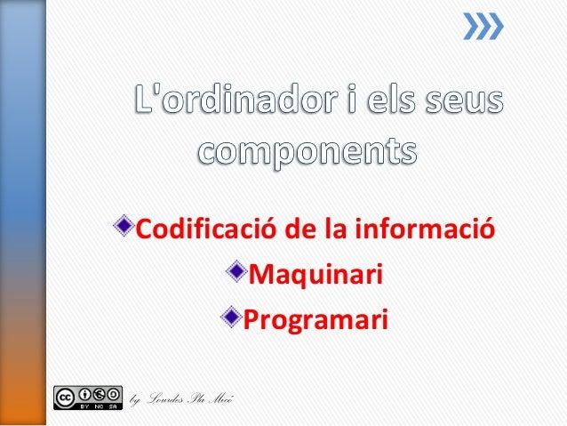 Codificació de la informació Maquinari Programari by Lourdes Pla Micó