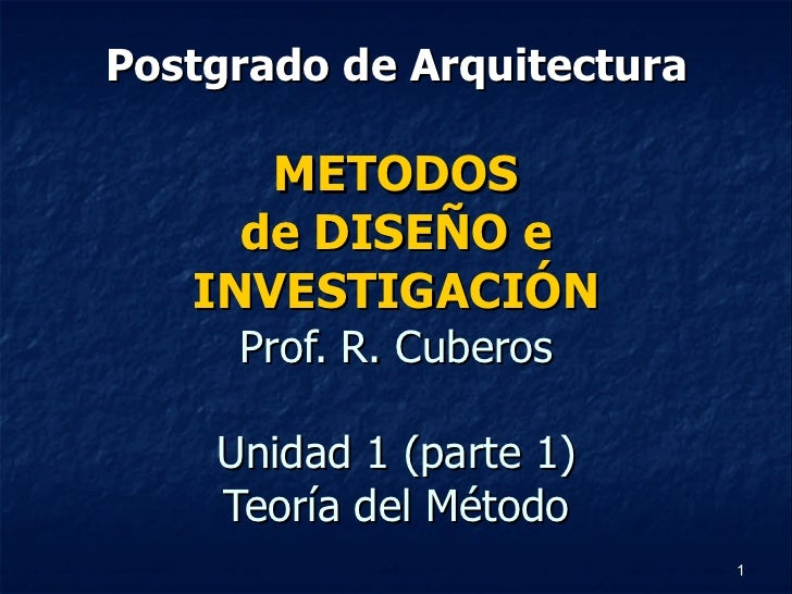 Postgrado de Arquitectura METODOS de DISEÑO e INVESTIGACIÓN Prof. R. Cuberos Unidad 1 (parte 1) Teoría del Método