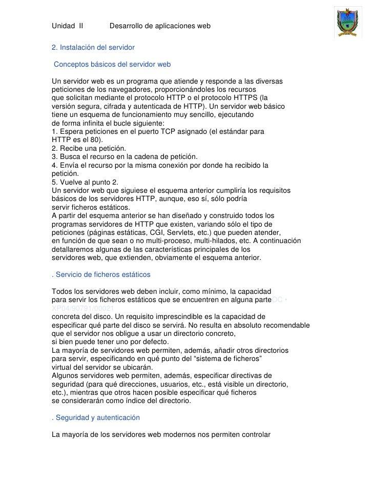 Unidad II         Desarrollo de aplicaciones web2. Instalación del servidorConceptos básicos del servidor webUn servidor w...