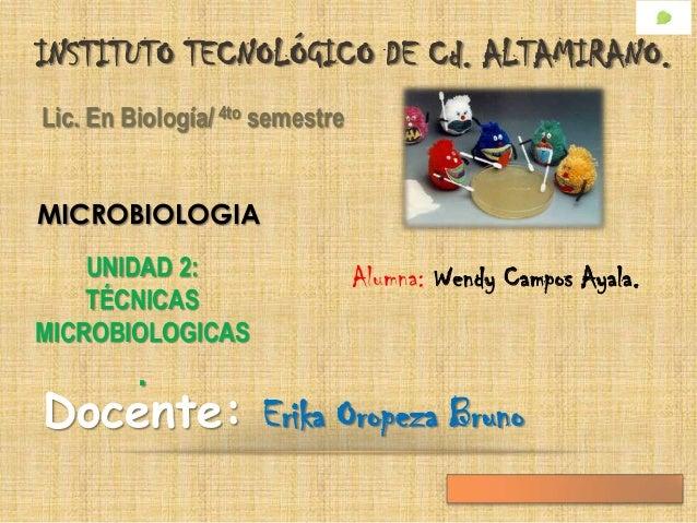 INSTITUTO TECNOLÓGICO DE Cd. ALTAMIRANO.Lic. En Biología/ 4to semestreMICROBIOLOGIA    UNIDAD 2:                    Alumna...