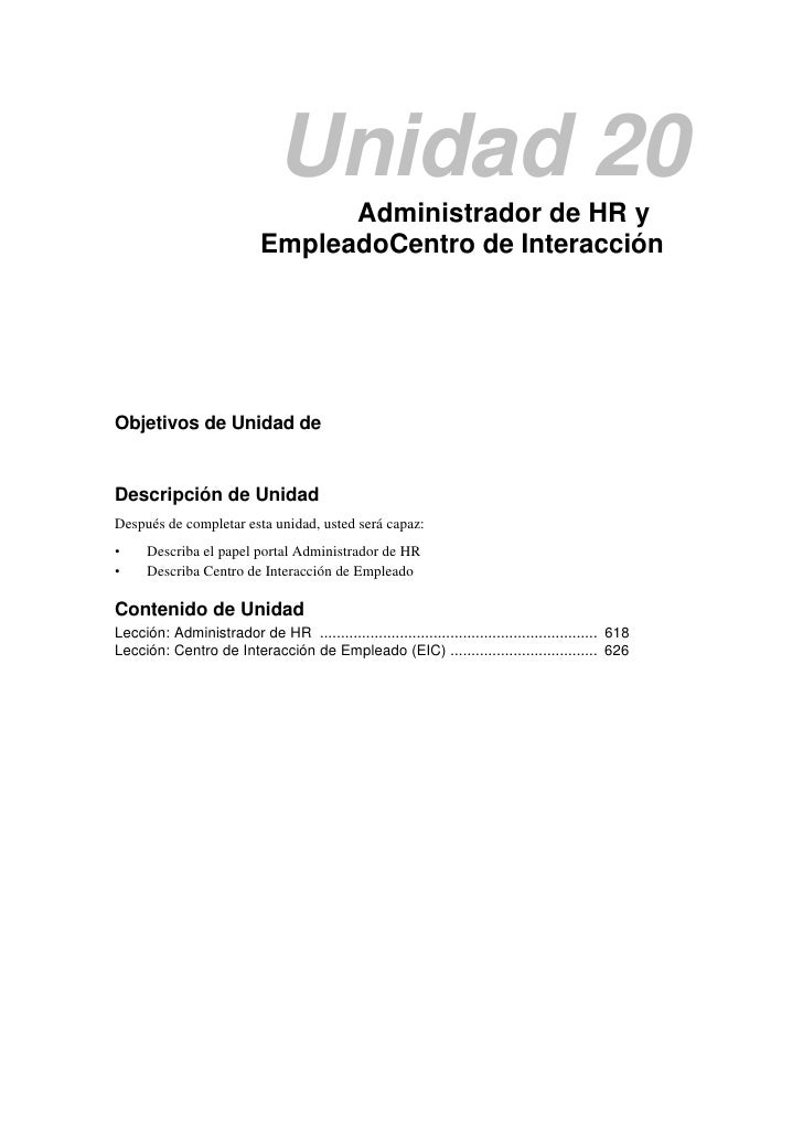 Unidad 20                                  Administrador de HR y                            EmpleadoCentro de InteracciónO...