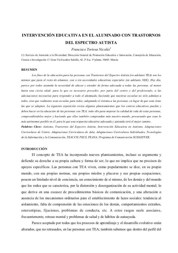 INTERVENCIÓN EDUCATIVA EN EL ALUMNADO CON TRASTORNOS                                         DEL ESPECTRO AUTISTA         ...