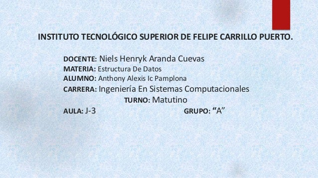 INSTITUTO TECNOLÓGICO SUPERIOR DE FELIPE CARRILLO PUERTO.  DOCENTE: Niels Henryk Aranda Cuevas  MATERIA: Estructura De Dat...